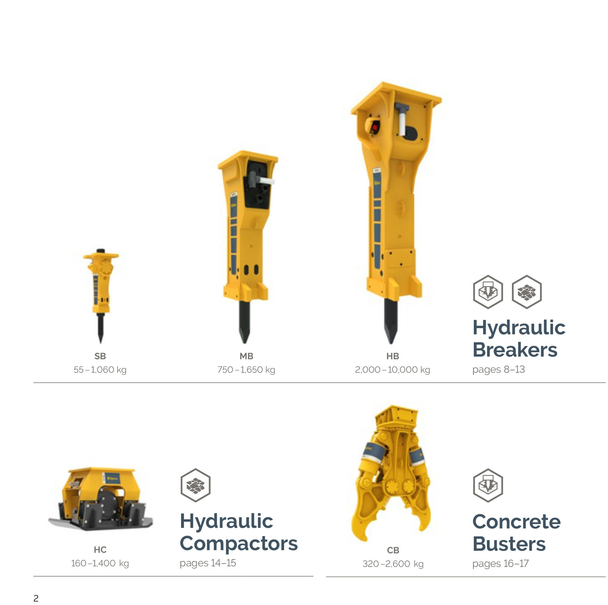 Hydraulic Breakers, Compactors and Concrete Busters