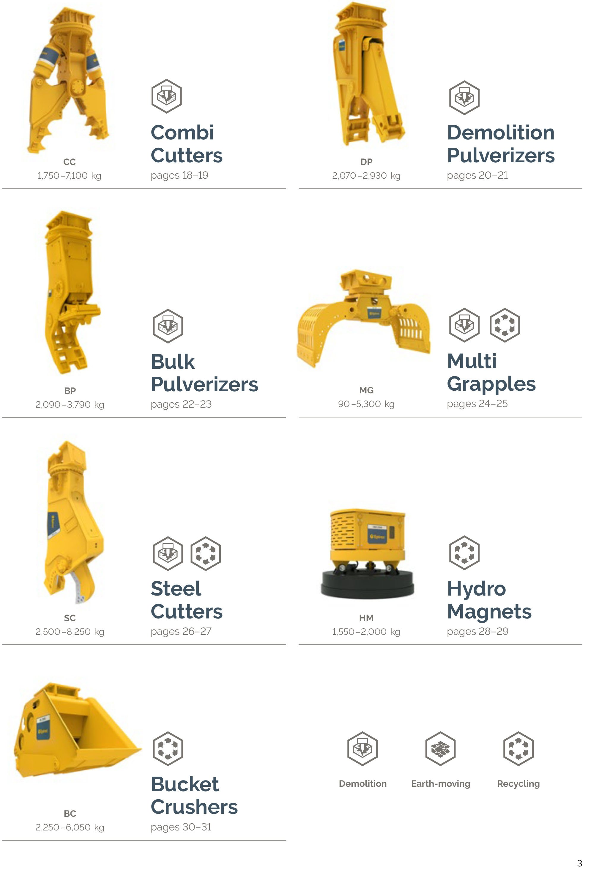 Cutters, Pulverizers, Grapples, Magnets & Crushers